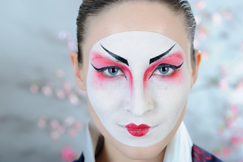 Donna del geisha del Giappone con trucco creativo. fotografia stock libera da diritti
