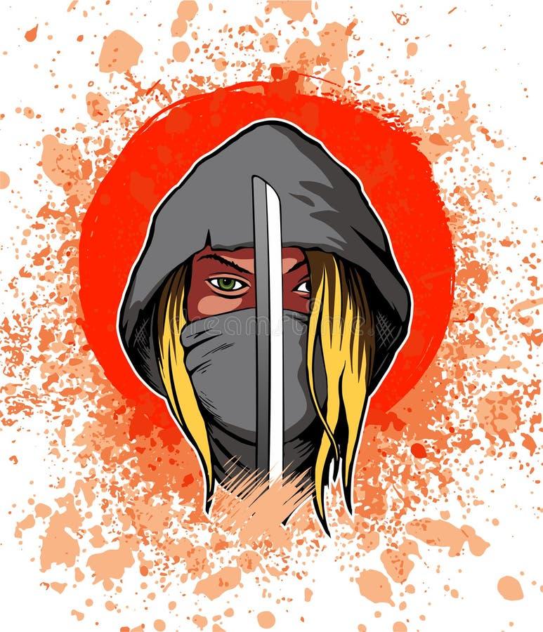Donna del guerriero nel cappuccio e con la spada, immagine royalty illustrazione gratis