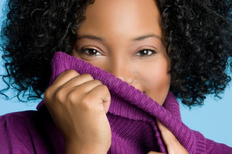 Donna del maglione di inverno immagine stock libera da diritti