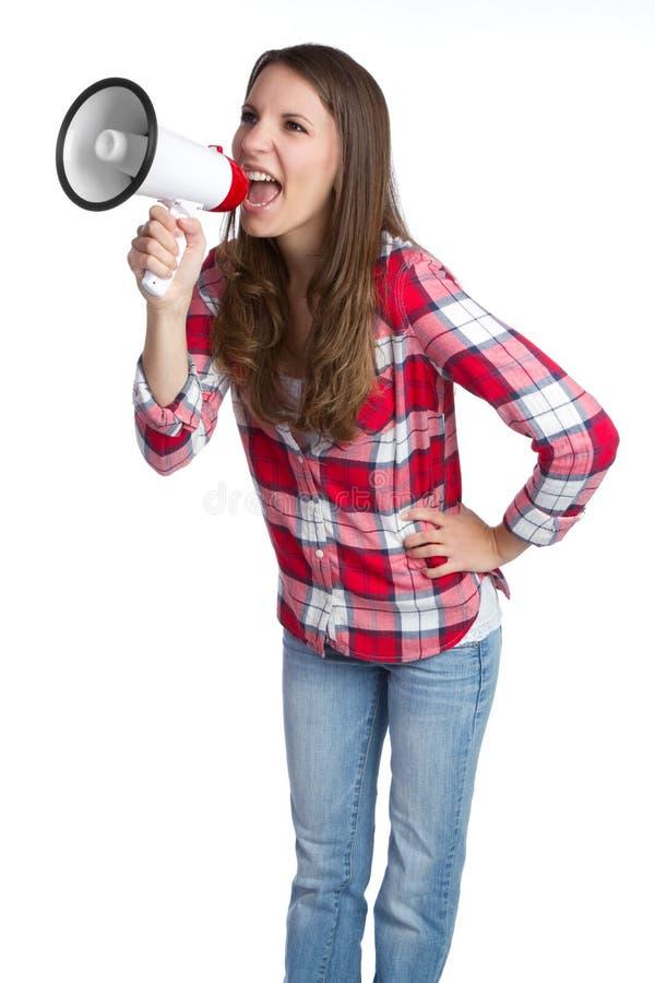 Donna del megafono fotografia stock libera da diritti