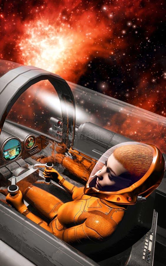 Donna del pilota di spazio dentro la cabina di pilotaggio dell'astronave illustrazione di stock