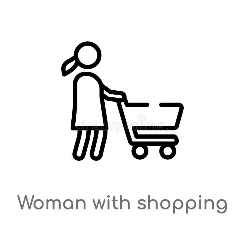 donna del profilo con l'icona di vettore del carrello linea semplice nera isolata illustrazione dell'elemento dal concetto della  royalty illustrazione gratis