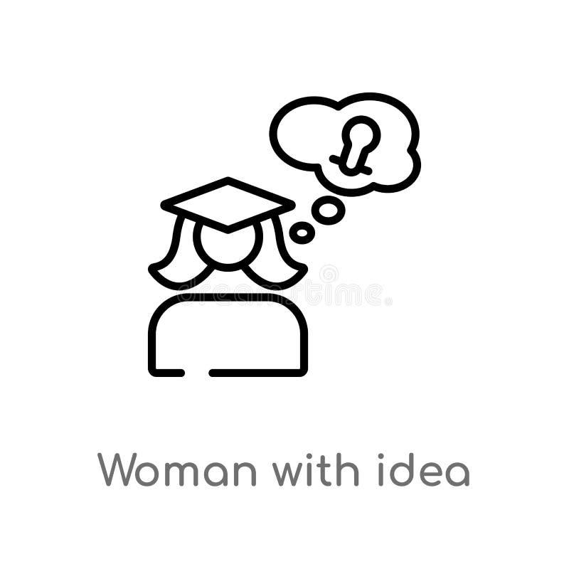 donna del profilo con l'icona di vettore di idea linea semplice nera isolata illustrazione dell'elemento dal concetto di istruzio illustrazione di stock