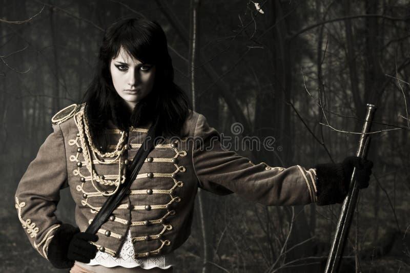 Donna del ritratto del soldato immagine stock