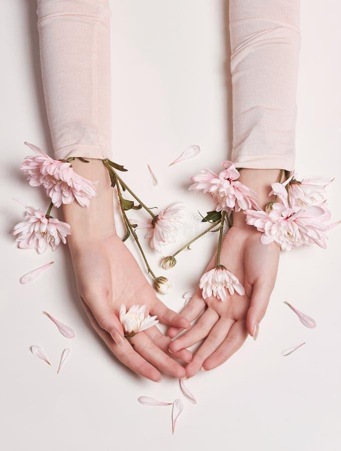 Donna del ritratto di arte di modo in vestito e fiori da estate in sua mano con un trucco di contrapposizione luminoso Ragazze cr immagine stock