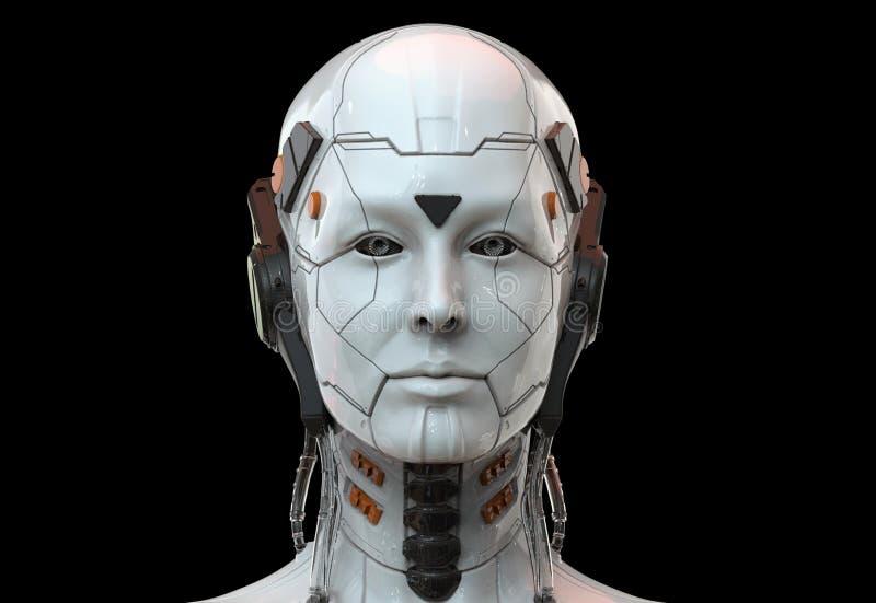 Donna del robot, intelligenza artificiale femminile 3d di androide di fantascienza rendere