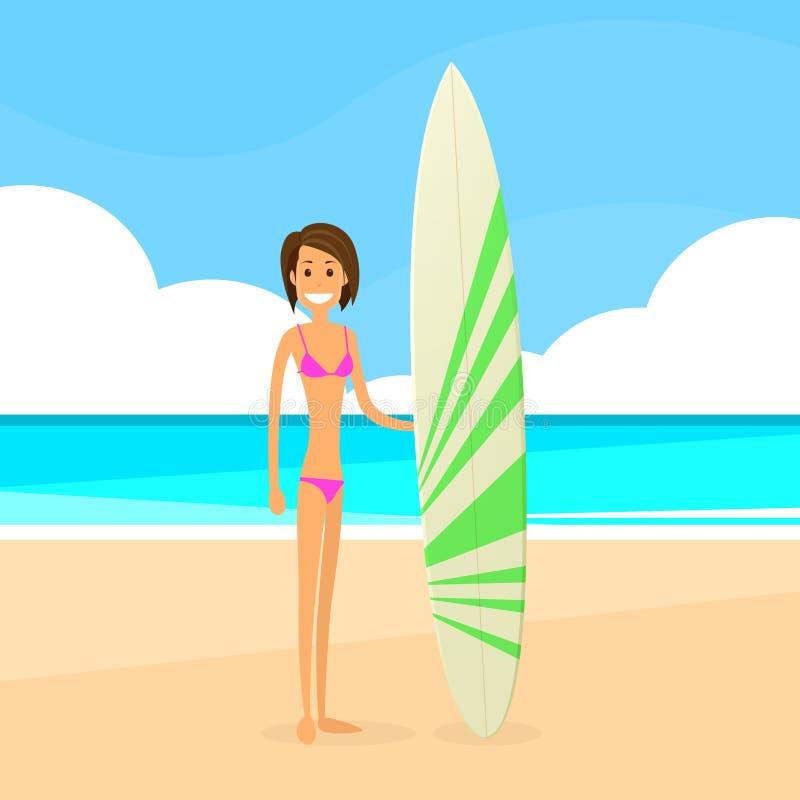 Download Donna Del Surfista Con La Vacanza Estiva Del Bordo Praticante Il Surfing Illustrazione Vettoriale - Illustrazione di sport, signora: 56878965