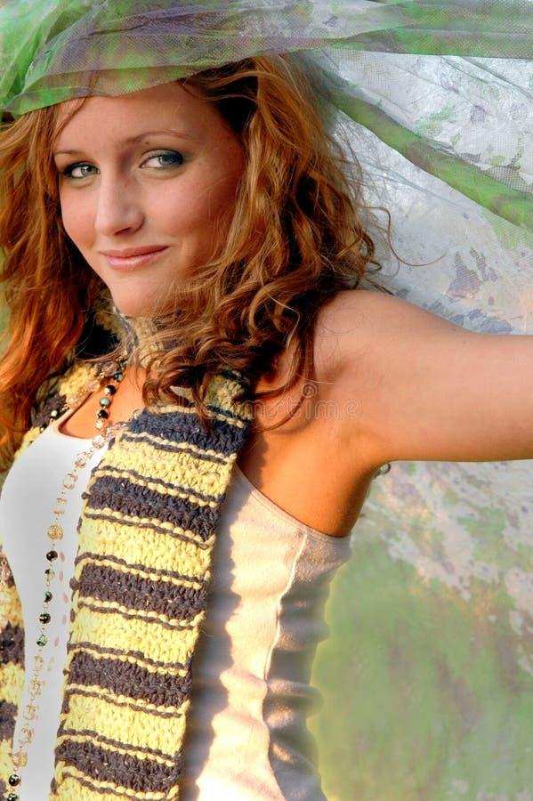 Donna del tessuto dell'acquerello fotografia stock libera da diritti