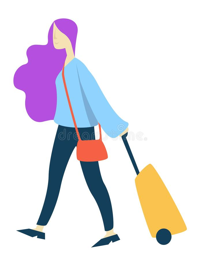 Donna del viaggiatore con la valigia sulle ruote e sul volo aspettante dell'aeroporto della borsa illustrazione vettoriale