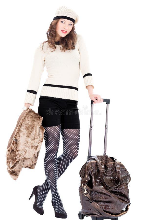 Donna del viaggiatore con una borsa immagine stock libera da diritti