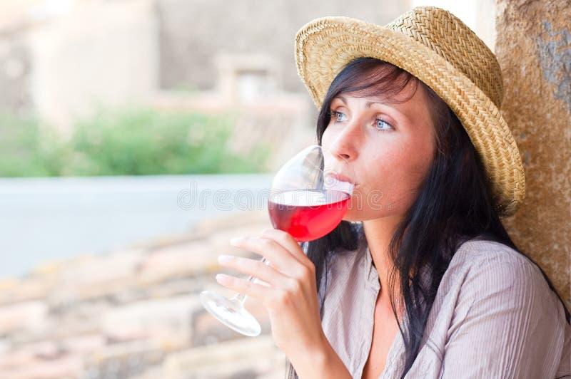 donna del vino fotografia stock