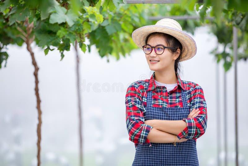 Donna dell'agricoltore che sta sulla serra con le armi attraversate in uva f fotografie stock