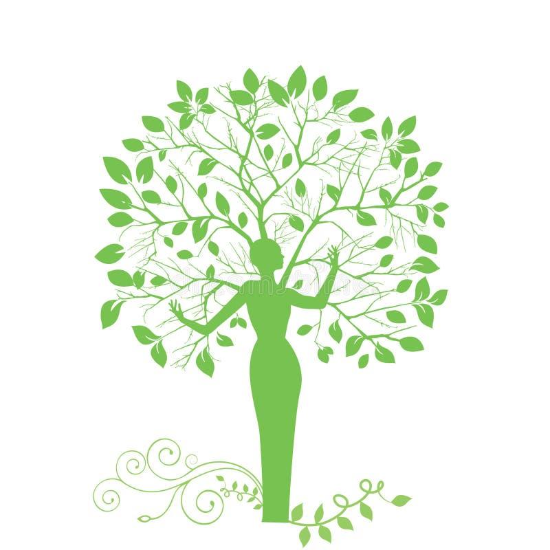 Donna dell'albero illustrazione di stock
