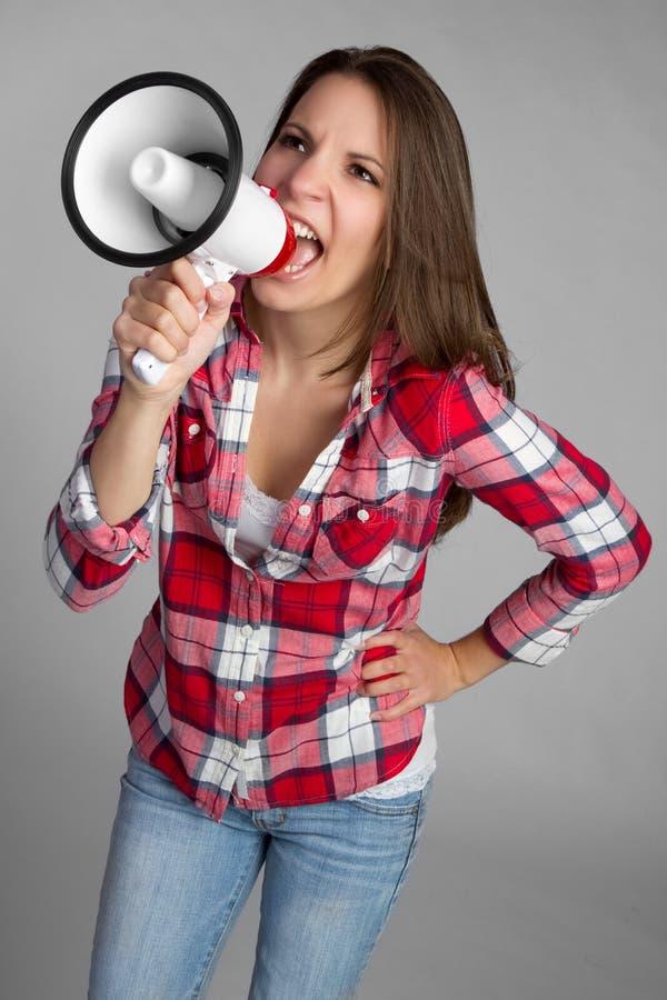 Donna dell'altoparlante del megafono fotografie stock