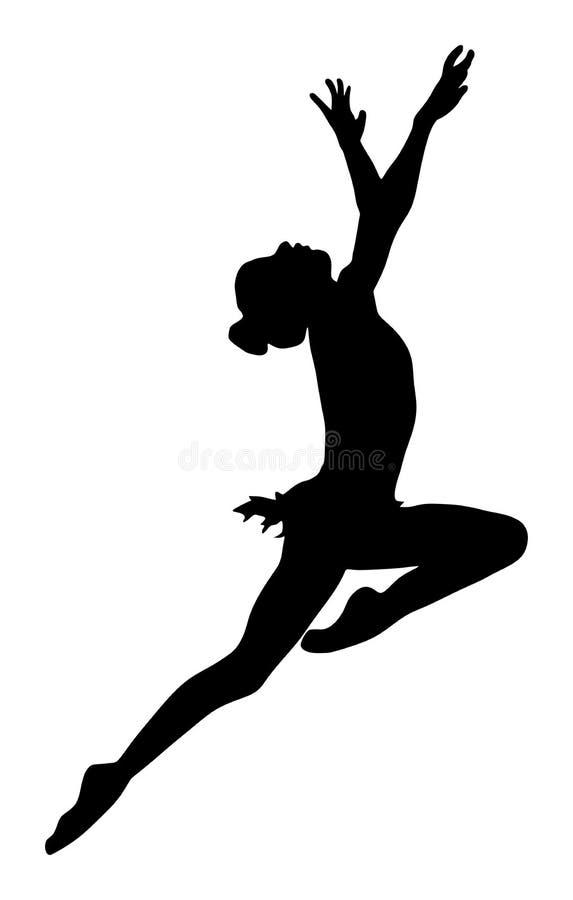 Donna dell'atleta nell'esercizio della palestra Siluetta della ragazza di balletto illustrazione vettoriale