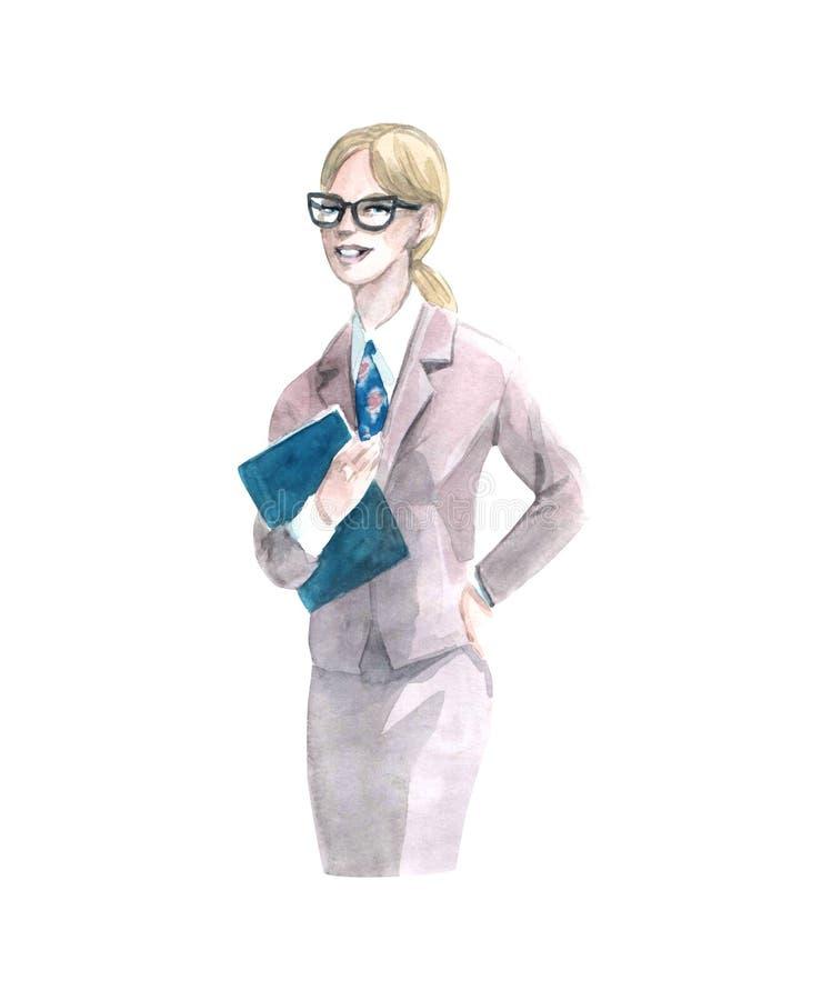 Donna dell'illustrazione dell'acquerello con l'oggetto isolato variopinto del libro su fondo bianco per la pubblicità illustrazione vettoriale