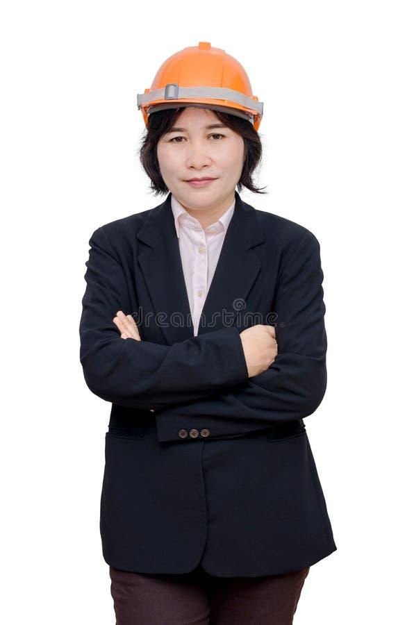 Donna dell'ingegnere con il casco sopra bianco fotografia stock libera da diritti