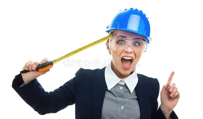 Donna dell'ingegnere sopra fondo bianco fotografie stock