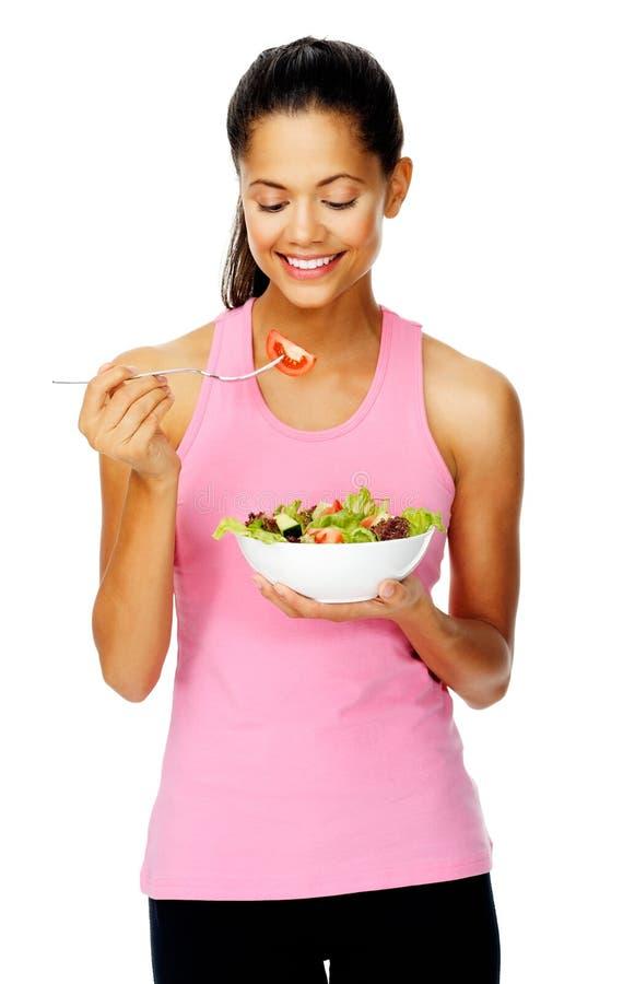 Donna dell'insalata felice fotografie stock libere da diritti