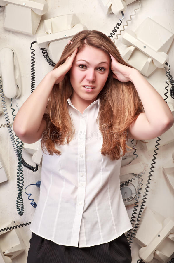 Donna dell'operatore nel panico fotografia stock libera da diritti