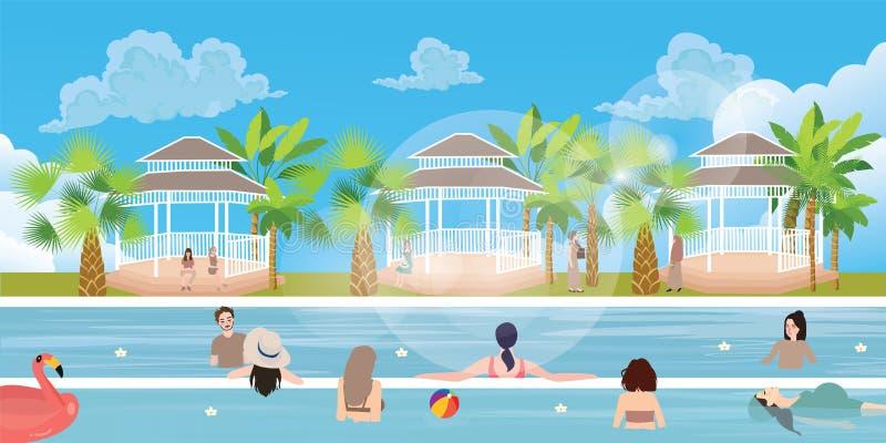 Donna dell'uomo della ragazza della famiglia della gente di situazione della piscina divertendosi all'aperto felice di vacanza royalty illustrazione gratis