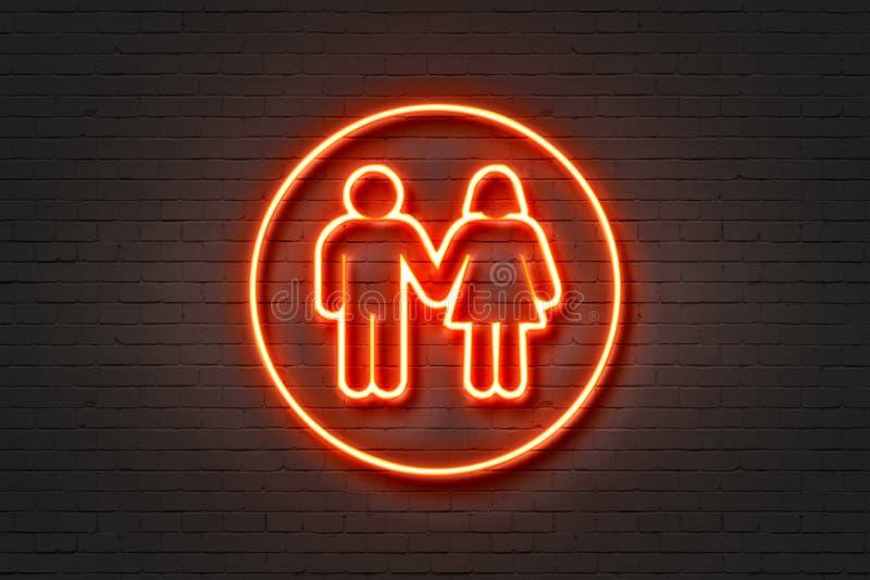Donna dell'uomo dell'icona della luce al neon illustrazione di stock