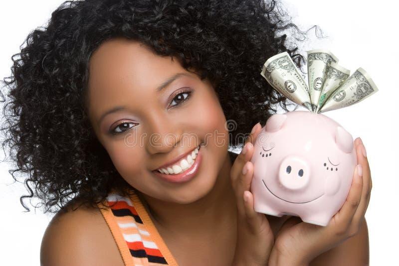 Donna della Banca Piggy fotografia stock