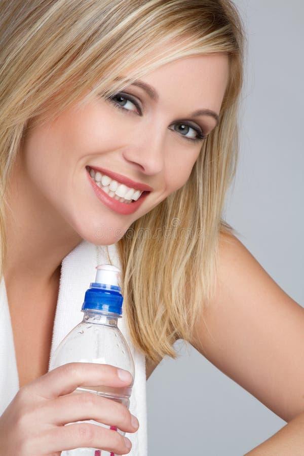 Donna della bottiglia di acqua immagine stock