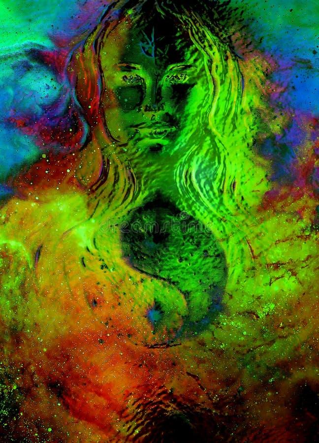 Donna della dea e simbolo Yin Yang nello spazio cosmico Effetto di vetro fotografia stock