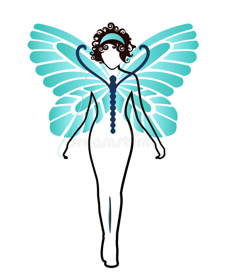 Donna della farfalla illustrazione di stock