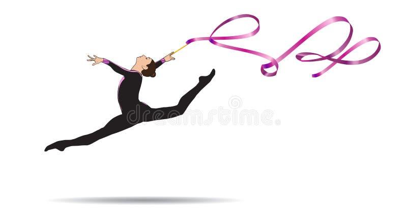 Donna della ginnasta con il nastro illustrazione di stock