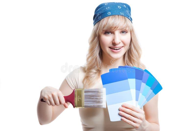 Donna della pittura fotografie stock