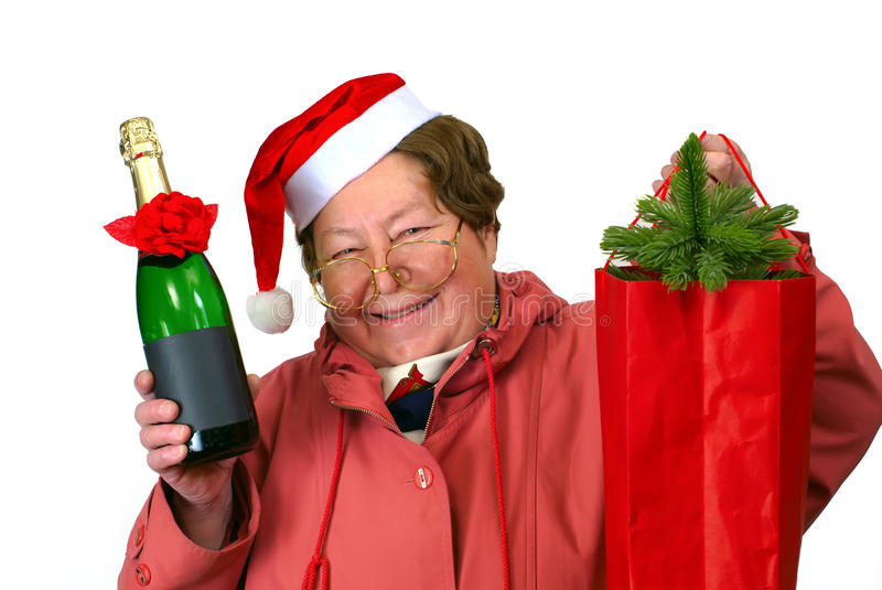 Donna della Santa che si veste in su in costume rosso di natale immagine stock
