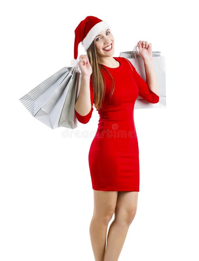Donna della Santa con i sacchetti di acquisto immagine stock libera da diritti