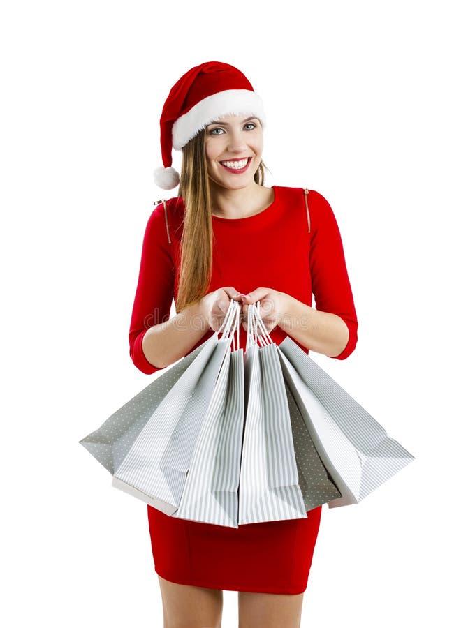 Donna della Santa con i sacchetti di acquisto fotografia stock