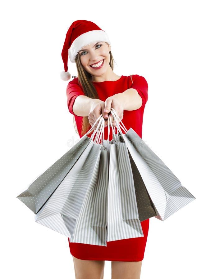 Donna della Santa con i sacchetti di acquisto fotografie stock