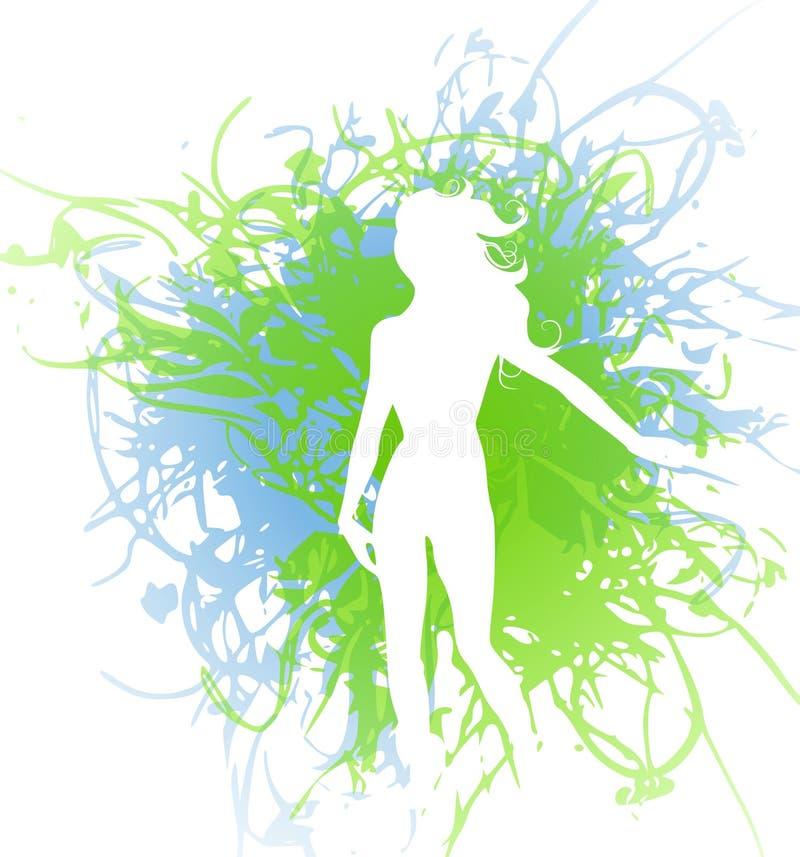 Donna della siluetta sullo Splatter di Grunge royalty illustrazione gratis