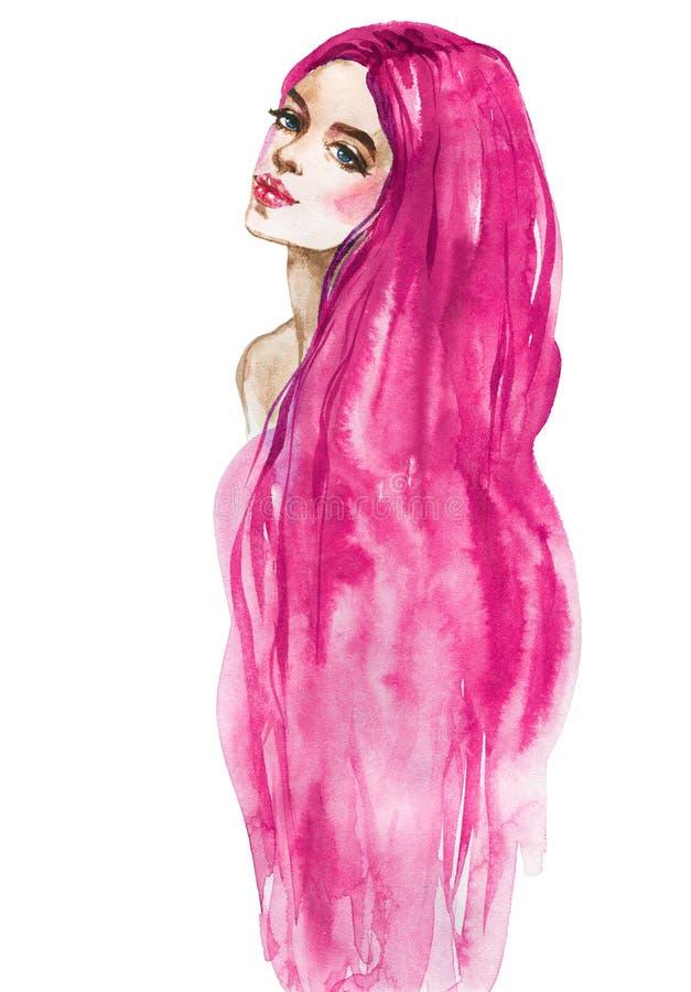 Donna della sirena dell'acquerello illustrazione di stock