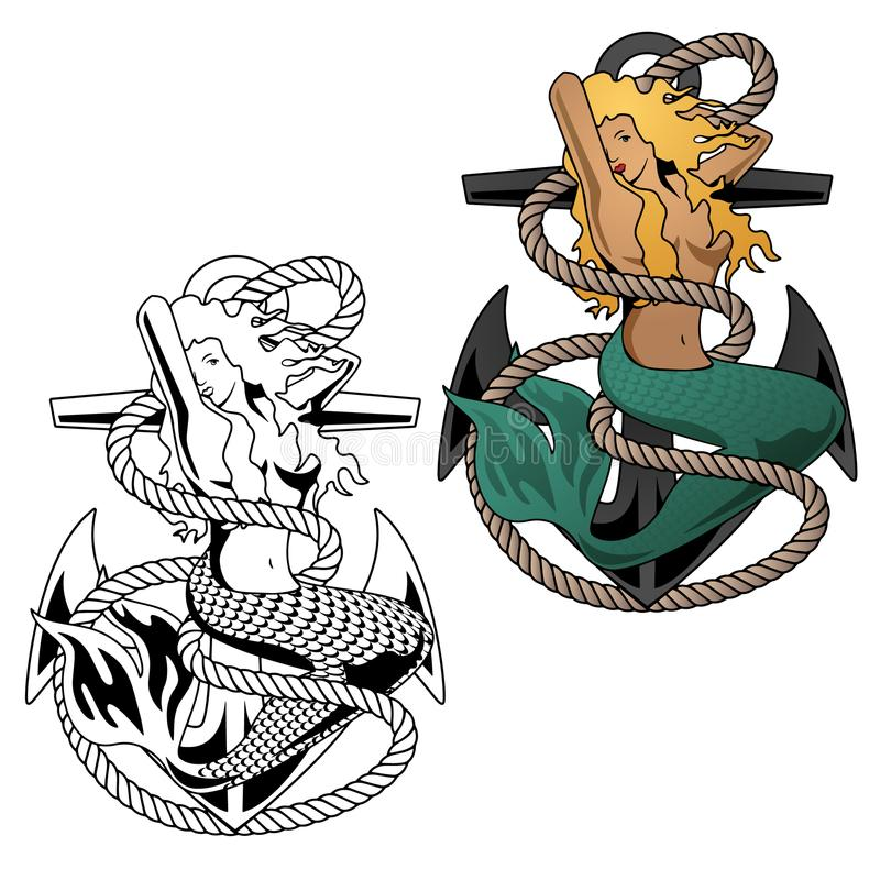 Donna della sirena sull'illustrazione di vettore dell'ancora illustrazione di stock