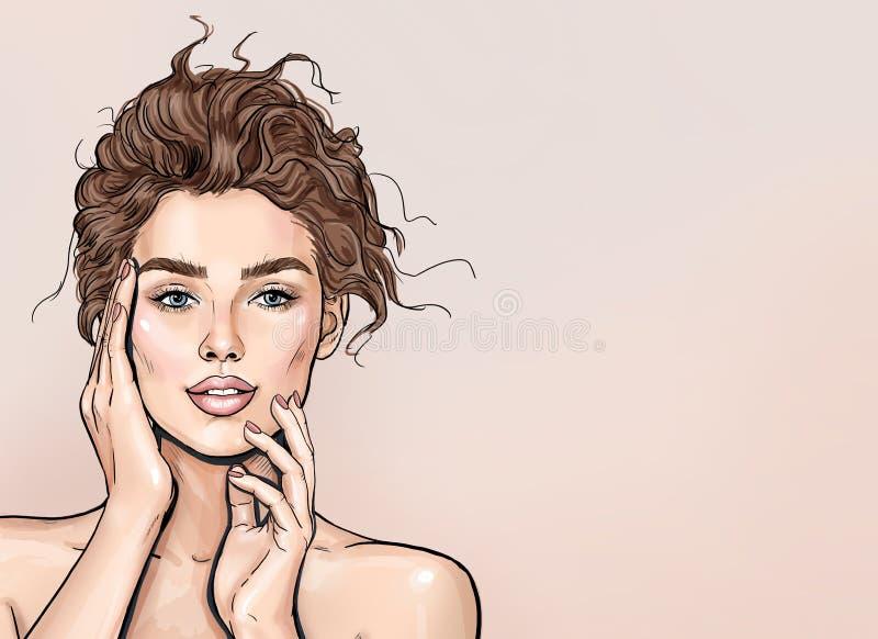 Donna della stazione termale di bellezza con il ritratto perfetto della pelle Bella ragazza castana con le mani vicino al fronte  illustrazione di stock
