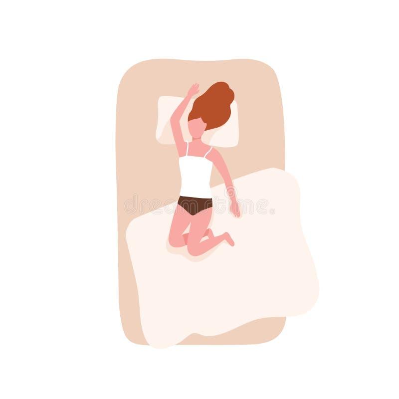 Donna della testarossa che dorme su lei indietro sul letto comodo Carattere femminile che si rilassa durante il sonno di notte Ri illustrazione di stock