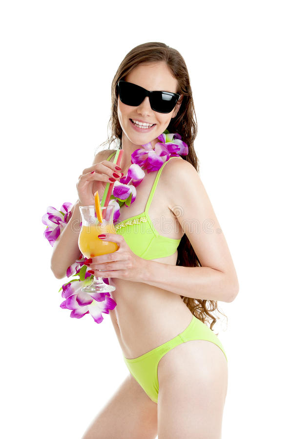 Donna delle Hawai in ghirlanda d'uso dei leu del fiore del bikini dell'orchidea rosa immagine stock libera da diritti
