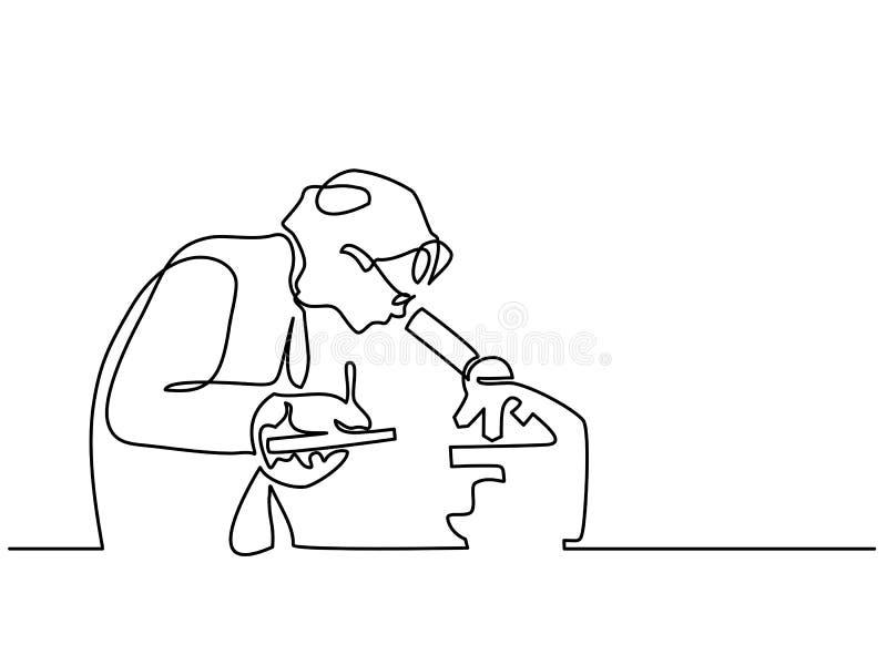 Donna dello scienziato che guarda tramite il microscopio royalty illustrazione gratis