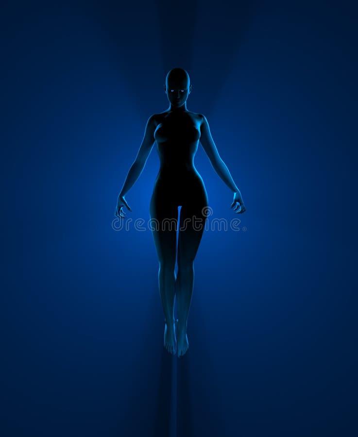 Donna dello stregone circondata alla luce illustrazione di stock
