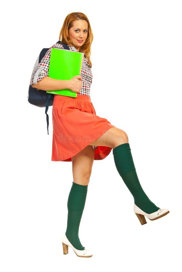 Donna dello studente che fa grande punto fotografia stock libera da diritti
