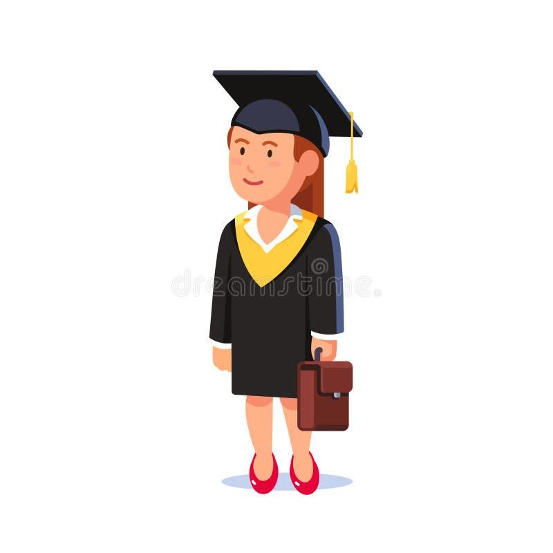 Donna dello studente laureata dalla scuola di commercio di MBA illustrazione di stock