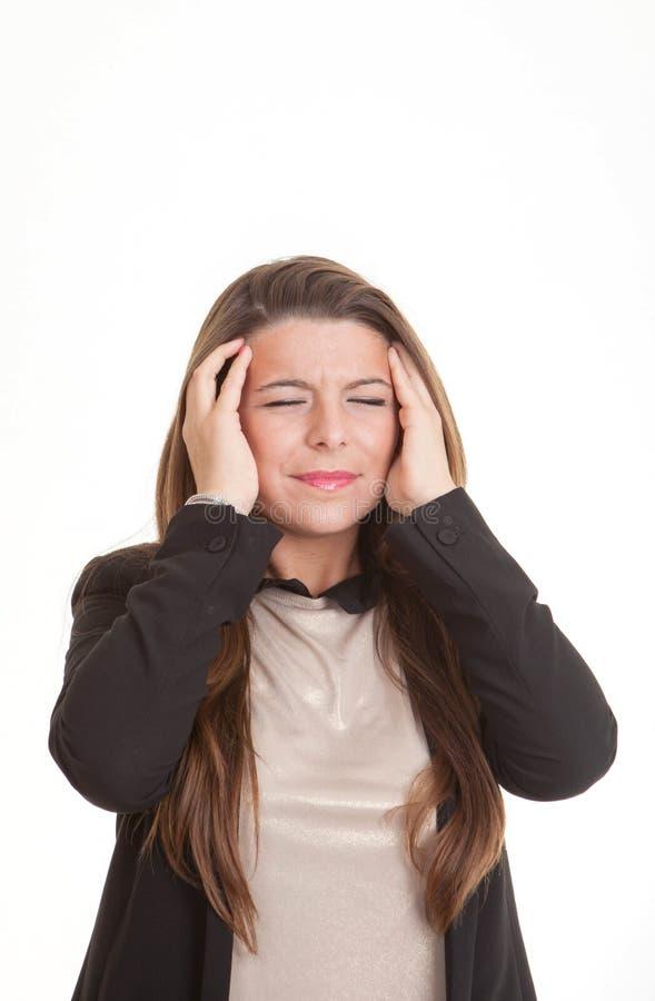 Donna depressa con l'emicrania o il dolore fotografie stock libere da diritti