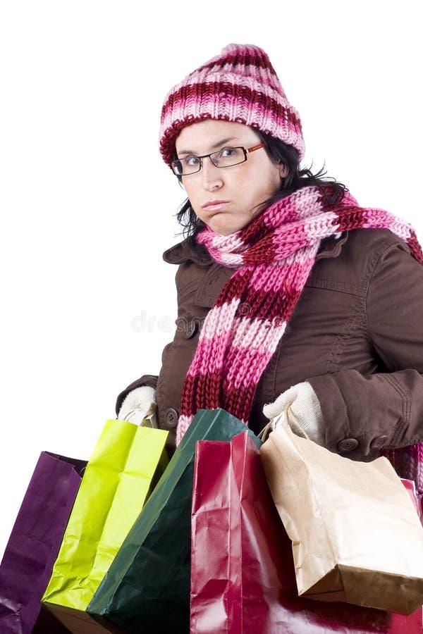 Donna di acquisto di natale immagine stock