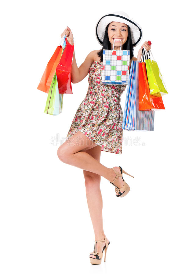 Donna di acquisto su bianco fotografia stock