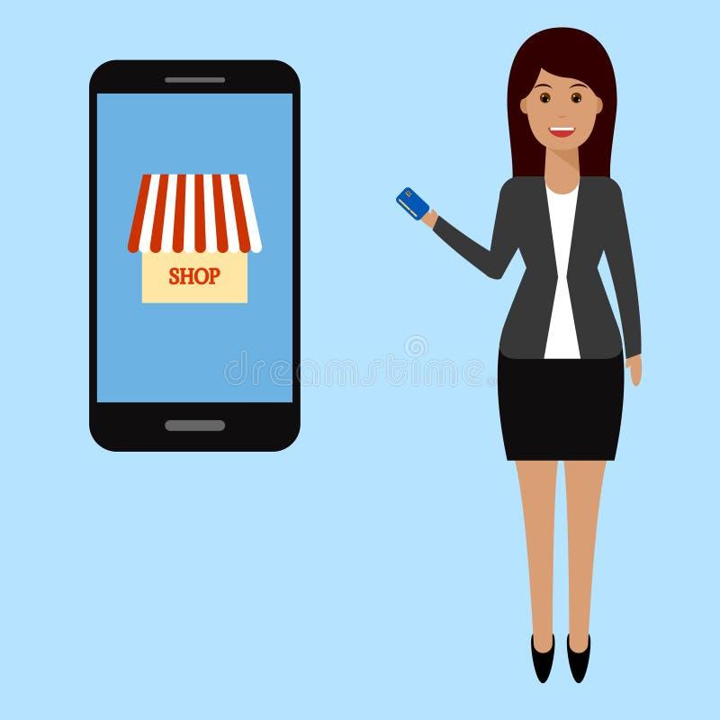 Donna di affari, acquisto online royalty illustrazione gratis